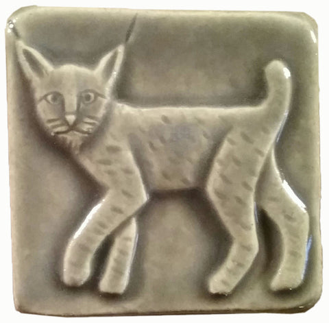 two inch by two inch bobcat handmade tile