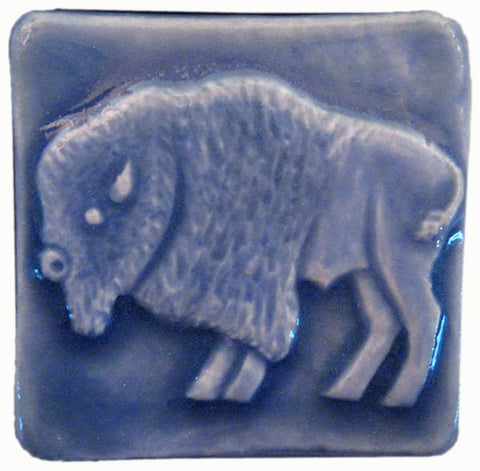 handmade buffalo tile two inch size blue glaze