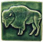 Buffalo 4x4 handmade tile Leaf Green Glaze