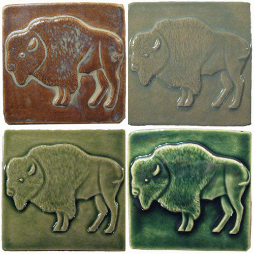 handmade buffalo tiles in four different glazes