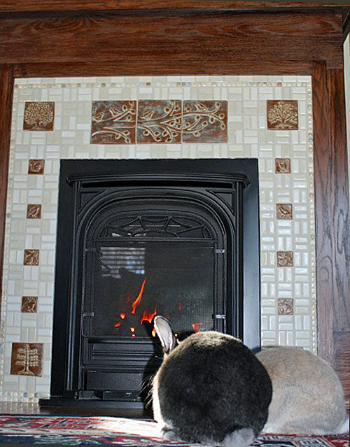 handmade tiles in fireplace surround