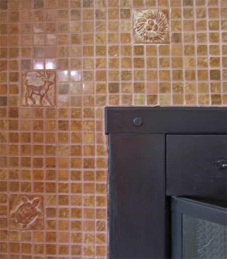 Fireplace surround with hand-made ceramic tiles 2