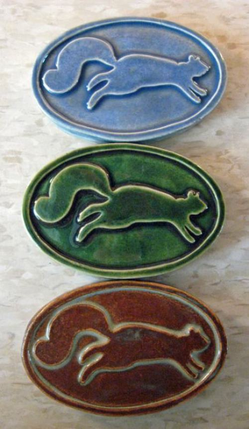 Oval Squirrel Handmade Ceramic Tiles, Kent Ohio