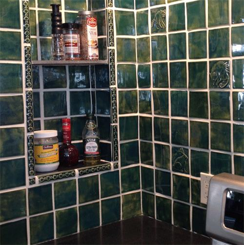 Handmade Tile Kitchen Back-splash, Green View 2