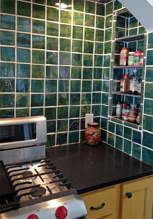 Handmade Tile Kitchen Back-splash, Green View 1
