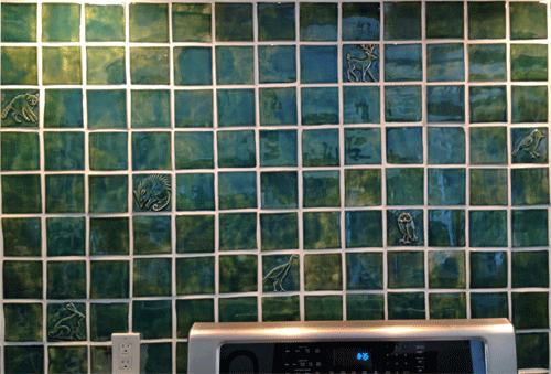 Handmade Tile Kitchen Back-splash, Green View 3
