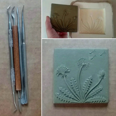 dandelion tile in progress, four inch size