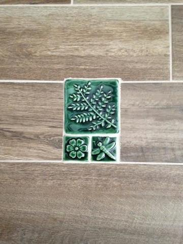 Fern, Blossom and Dragonfly handmade tiles in Leaf Green Glaze