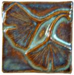 Double Ginkgo 2x2 Ceramic Handmade Tile Autumn Glaze