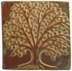 Elm Tree 6x6 Ceramic Handmade Tile autumn glaze