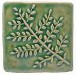 Fern 4x4 Ceramic Handmade Tile Spearmint Glaze