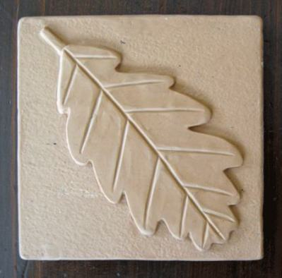 Ceramic Handmade Tile Leaf Design