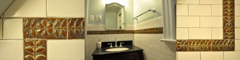 Bathroom installation of ceramic art tile