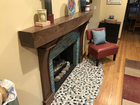handmade tile craftsman hearth installation
