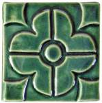 Geometric Blossom 4x4 Handmade Ceramic Art Tile Leaf Green Glaze