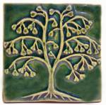 Ginkgo Tree 4x4 Ceramic Handmade Tile Leaf Green Glaze