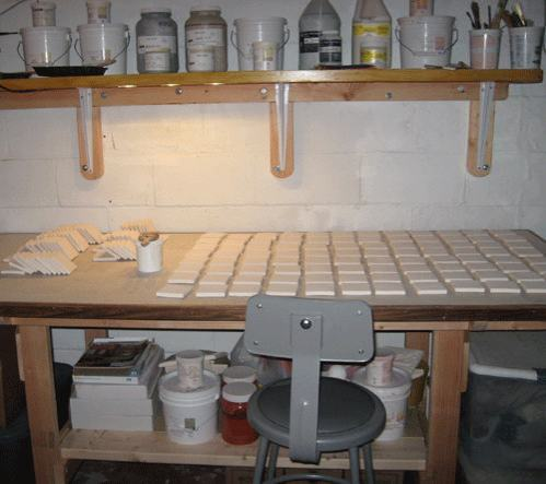 Ceramic Handmade Tile Studio Glazing Table