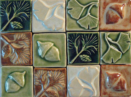 Ginkgo Leaves Handmade Tiles