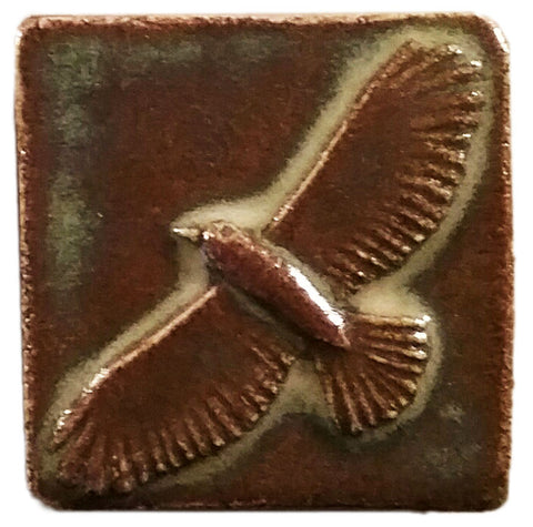 two inch by two inch hawk handmade tile
