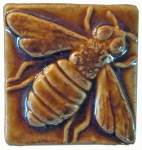 Honey Bee 2x2 Ceramic Handmade Tile Honey Glaze