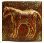 Horse facing left 6x6 Ceramic Handmade Tile Autumn Glaze