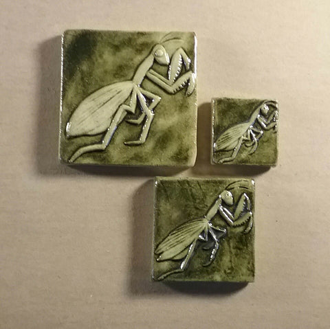 mantis handmade tiles in three different sizes