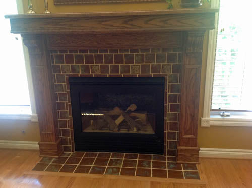 handmade tile hearth installation