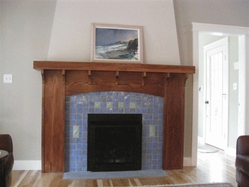 arts and crafts hearth with handmade art tiles""