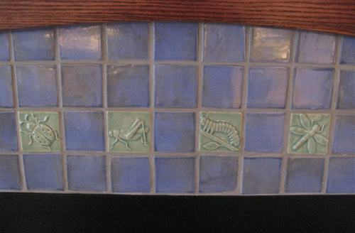 lady bug, grasshopper, caterpillar and dragonfly handmade tiles in blue glaze