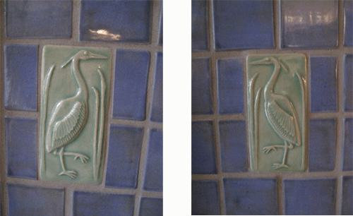 great blue heron tiles handmade in the arts and crafts style