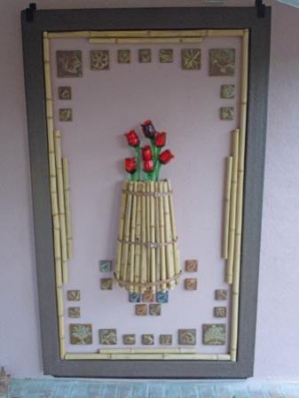 glass roses and ceramic hand-made art tile with bamboo frame