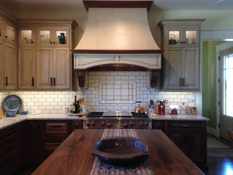 handmade tile mural in kitchen backsplash