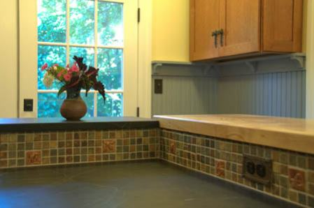 Kitchen back-splash of installed handmade tiles