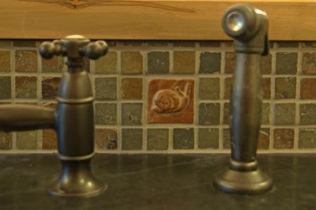 Installed Handmade Snail Tile in Slate, Kitchen