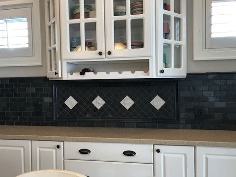 black and white kitchen back splash with handmade tiles