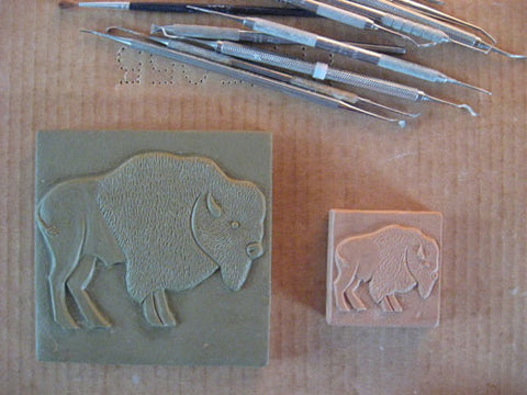 handmade tiles featuring buffalo or american bison