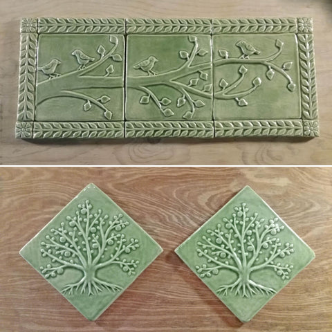 handmade tiles in light green glaze featuring birds on a branch and the tree of life