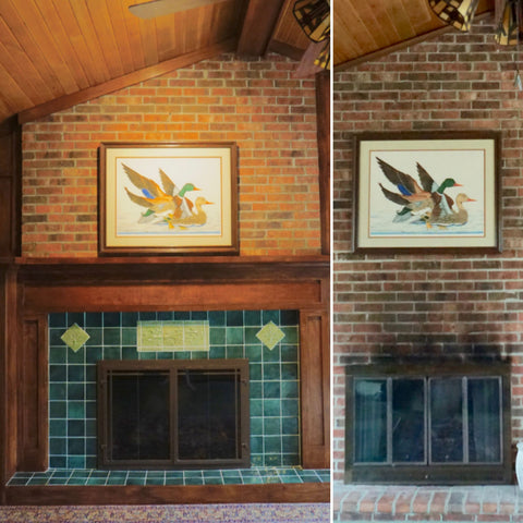 before and after pictures of a fireplace remodel that included a handcrafted wooden mantle and green handmade tiles