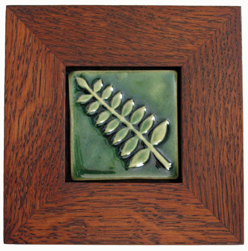 handmade tile in an arts and crafts style frame