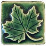 Maple Leaf 2x2 Ceramic Handmade Tile Leaf Green Glaze
