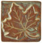 Maple Leaf 4x4 Ceramic Handmade Tile Autumn Glaze