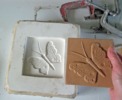 Making a ceramic tile mold for hand-made tile butterfly 2