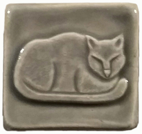 napping cat handmade tile, two inch by two inch size