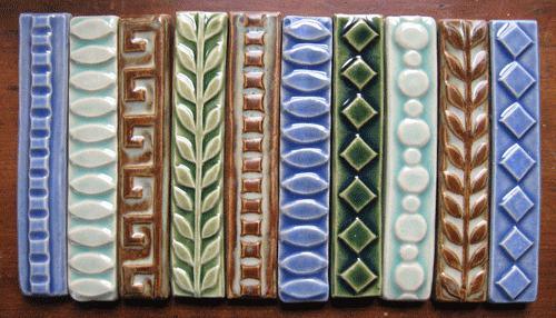 handmade decorative border tiles, 1x6 liner tiles