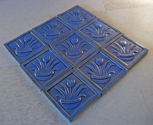 handmade tulip tiles in blue glaze