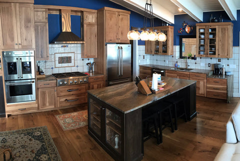 high end rustic kitchen featuring handmade tiles