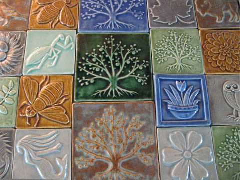 handmade tiles for ginko gallery in oberlin ohio