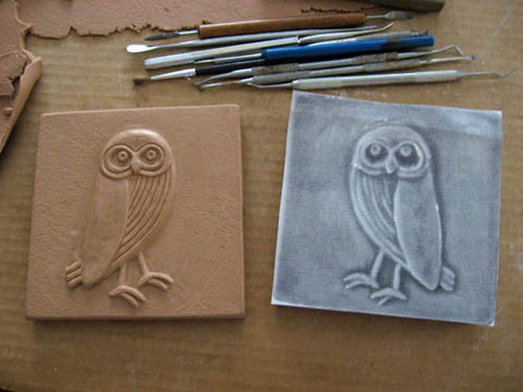 handmade owl tile in progress photo