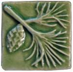 Pine 2x2 Handmade Ceramic Art Tile Spearmint Glaze