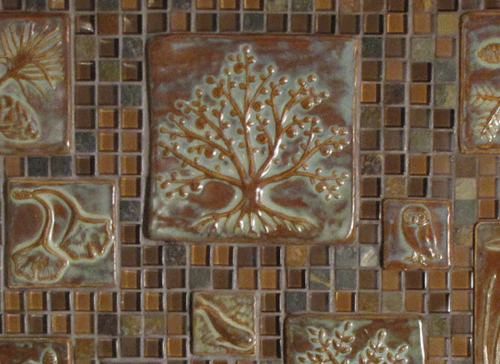 Autumn Tress Handmade Ceramic Tile Installation 2